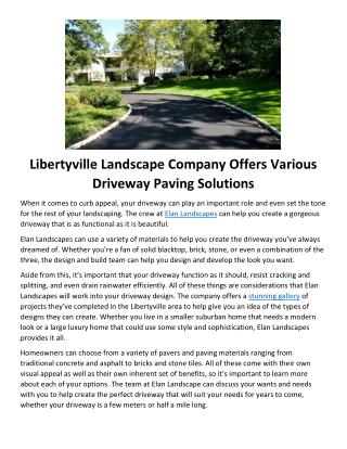 Libertyville Landscape Company Offers Various Driveway Paving Solutions