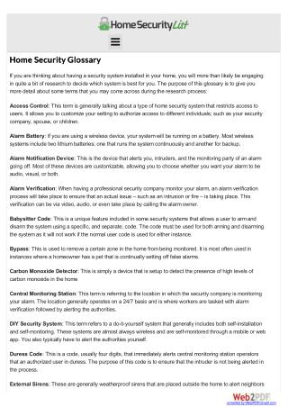 Home Security Glossary