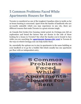 5 Common Problems Faced While Apartments Houses for Rent