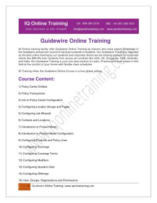 Get Trained in Guidewire Online Training from Experienced Trainers