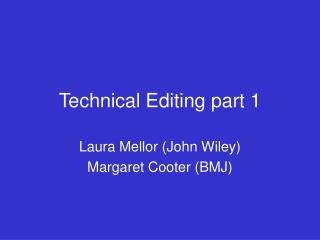 Technical Editing part 1