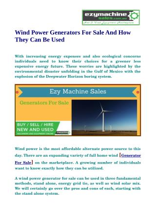 Find the best selection of wind generator here at EzyMachineSale.