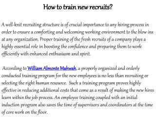 How To Train New Recruits