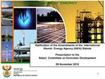 Ratification of the Amendments of the  International  Atomic  Energy Agency IAEA Statute   Presentation to the  Select