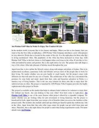 Ats Pristine Golf Villas In Noida To Enjoy The Comfort Of Life
