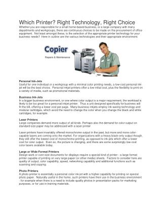 Selling Points For a Copier