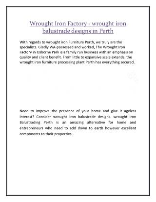 Wrought Iron Factory - wrought iron balustrade designs in Perth