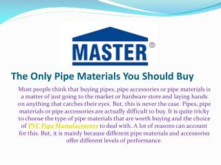 The Only Pipe Materials You Should Buy