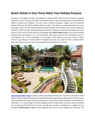 Beach Hotels in Goa Those Meet Your Holiday Purpose