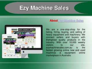 Buy/Sell New & Used  Machinery online at EzyMachineSales