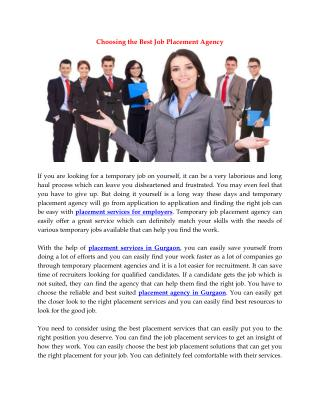 Choosing the Best Job Placement Agency
