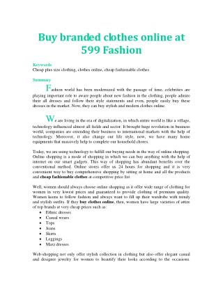 Buy branded clothes online at 599 Fashion