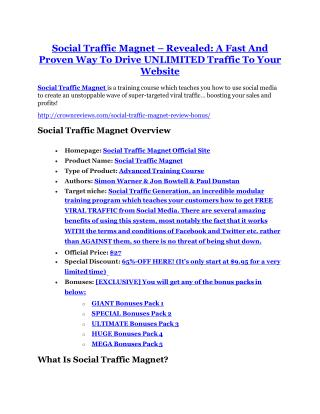 Social Traffic Magnet Review & (BIGGEST) jaw-drop bonuses