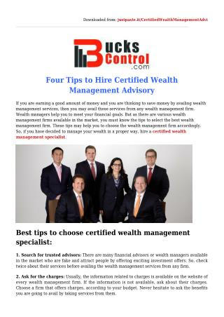 Tips to Select the Certified Wealth Management Specialist