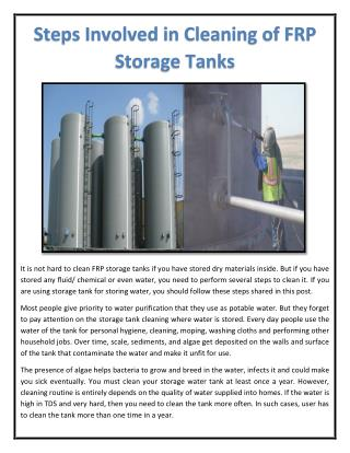 Steps Involved in Cleaning of FRP Storage Tanks