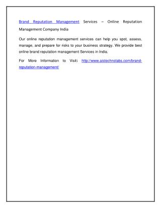 Brand Reputation Management Services – Online Reputation Management Company India