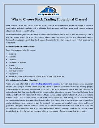 Why to Choose Stock Trading Educational Classes?