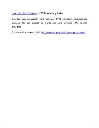Pay Per Click Service – PPC Company India