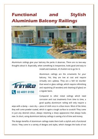 Functional And Stylish Aluminium Balcony Railings