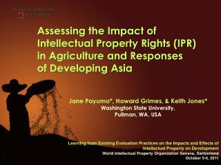Assessing the Impact of  Intellectual Property Rights (IPR) in Agriculture and Responses  of Developing Asia
