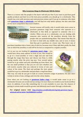 Why Gemstone Rings In Wholesale Will Be Better