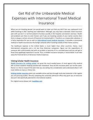 Get Rid of the Unbearable Medical Expenses with International Travel Medical Insurance