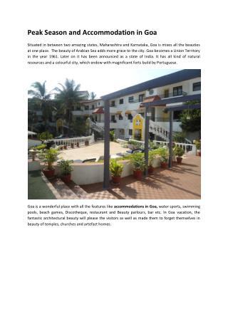Peak Season and Accommodation in Goa