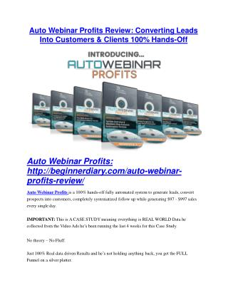 Auto Webinar Profits Review and $30000 Bonus - Auto Webinar Profits 80% DISCOUNT