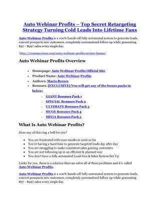 Auto Webinar Profits review and (COOL) $32400 bonuses