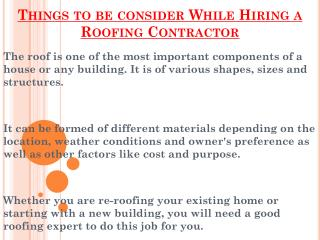 Remember These Points While Hiring A Roofing Contractor