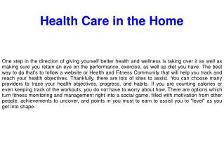 Health Care in the Home
