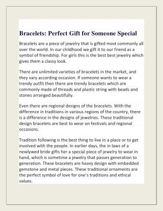 Bracelets: Perfect Gift for Someone Special