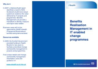 Benefits Realisation Management in IT enabled change programmes