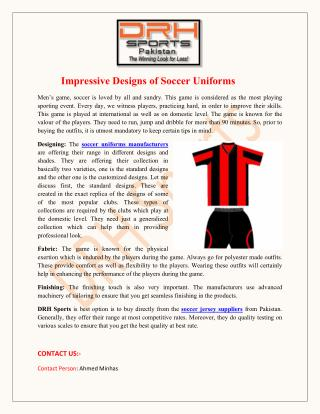 Impressive Designs of Soccer Uniforms