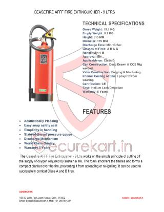 Features of Ceasefire Fire Extinguisher AFFF Foam-9 Itr