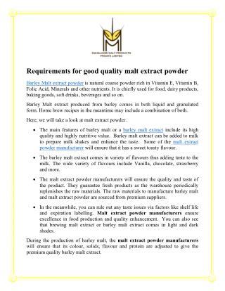 Requirements for good quality malt extract powder