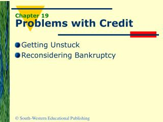 Chapter 19 Problems with Credit