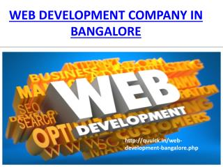 Web Development Company in Bangalore, Website Design India, Quuick