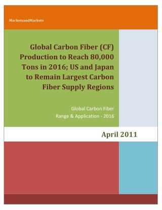 MarketsandMarkets: Global Carbon Fiber (CF) Production to Reach 80,000 Tons in 2016; US and Japan to Remain Largest Carb