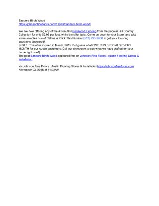 Bandera Birchwood Flooring sale