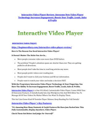 Interactive Video Player Review-(GIANT) bonus & discount