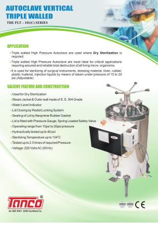 Vertical Sterilizer - Triple walled By Tanco Autoclave