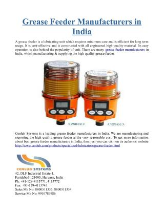 Grease Feeder Manufacturers in India