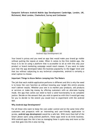 Eastpoint Software Android Mobile App Development Cambridge, London, UK, Richmond, West London, Chelmsford, Surrey and C