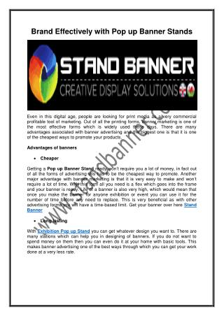 Brand Effectively with Pop up Banner Stands