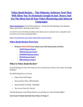 Video Rank Rocket Review & Video Rank Rocket $16,700 bonuses