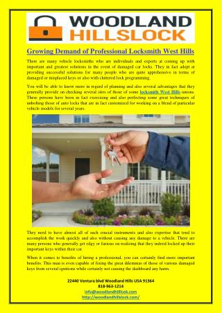 Growing Demand of Professional Locksmith West Hills