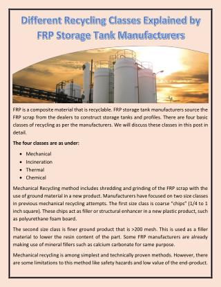 Different Recycling Classes Explained by FRP Storage Tank Manufacturers