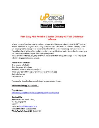 Fast Easy And Reliable Courier Delivery At Your Doorstep - uParcel