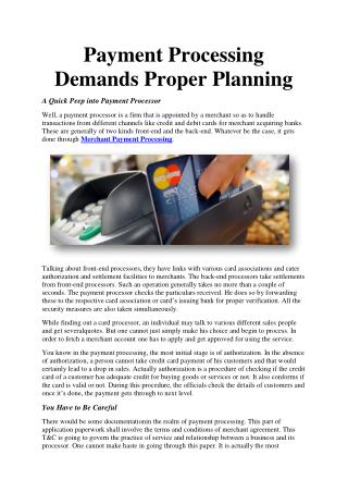 Payment Processing Demands Proper Planning